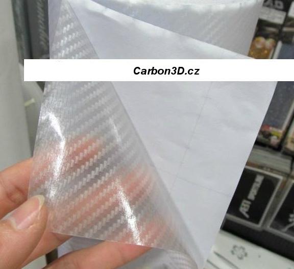 TRANSPARENTNÍ PRŮHLEDNÁ 3D CARBON KARBON FOLIE S KANÁLKY V LEPIDLE - 152cm x 4m