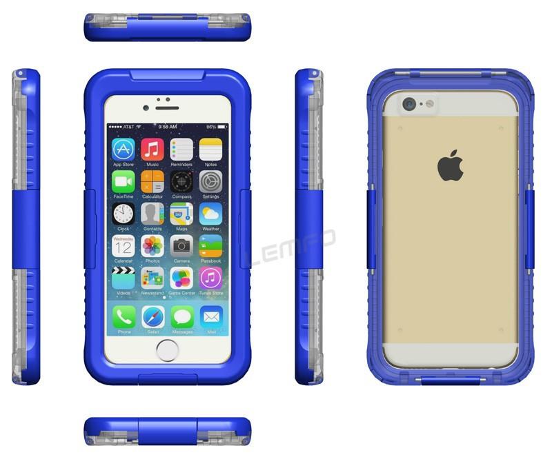 Voděodolný vodotěsný obal kryt pouzdro pro iPhone 6 (4.7) IP-8 - modrý