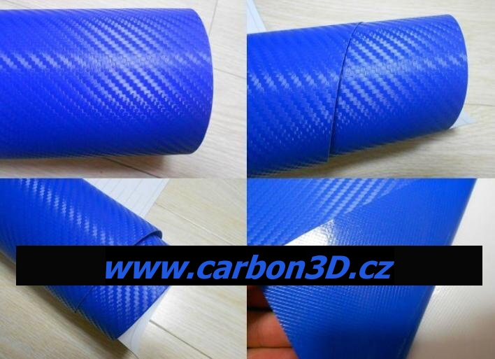 152cm x 10m CARBON KARBON FOLIE 3D Modrá s kanálky