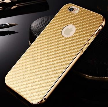 Zlatý bumper luxusní kryt 3D karbon pro iPhone 6 (4.7)  c6a4efc3b08