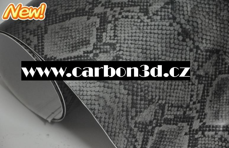 Samolepící 3D folie imitace hadí kůže 152cm x 20m - ŠEDÁ