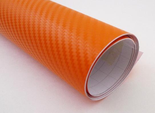 152cm x 5m Oranžová CARBON KARBON FOLIE 3D - se vzduchovými kanálky
