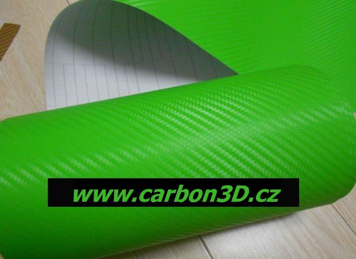 152cm x 1m CARBON KARBON FOLIE 3D Zelená s kanálky