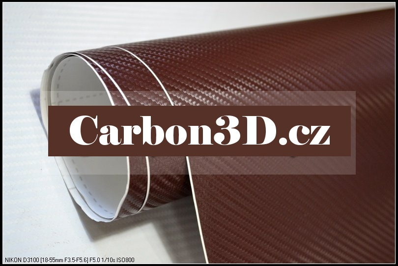 152cm x 20m HNĚDÁ CARBON KARBON FOLIE 3D - se vzduchovými kanálky