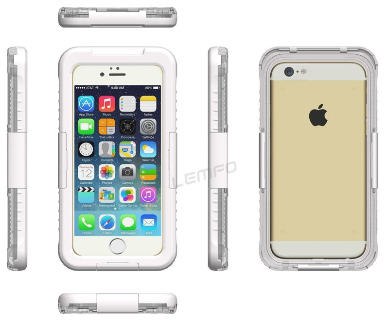 Voděodolný vodotěsný obal kryt pouzdro pro iPhone 6   iPhone 7 IP-8 - bílý 9f6e6621e57