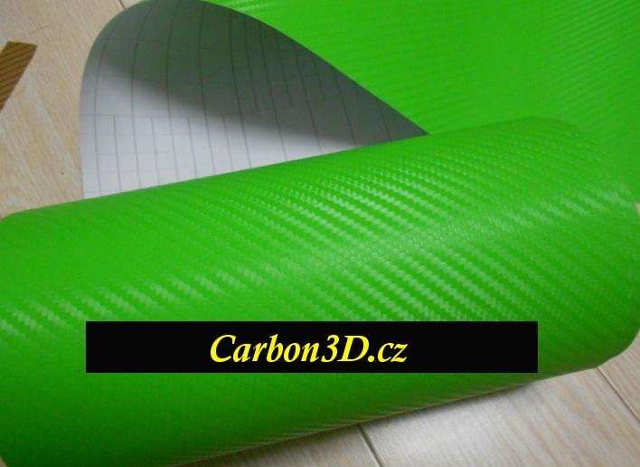152cm x 5m CARBON KARBON FOLIE 3D Zelená s kanálky